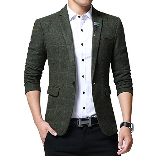 Mirecoo Mens Tailored Smart Fit Tweed Jacket Casual Wedding Prom Party Checkered Blazer
