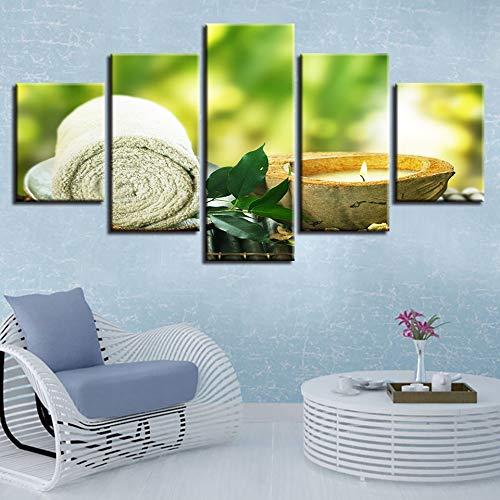 Essbare Massage-kerze (zysymx Leinwandbilder Home Decor HD Drucke 5 Stücke Handtuch Blatt Kerze Gemälde Spa Massage Poster Modulare Wohnzimmer Wandkunst Rahmen)