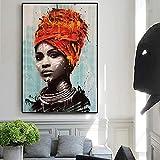 Femmes africaines imprimer des illustrations sur toile impression peinture à l'huile fille noire affiche et impression murale art impression peinture décorative peinture sans cadre 20x30 cm