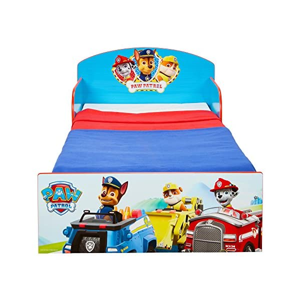 Paw Patrol Kids 505PWP Toddler Bed by HelloHome - Red/Blue Paw Patrol Drift off dreaming with your favourite Paw Patrol characters. Perfect size for toddlers, low to the ground with protective and sturdy side guards to keep your little one safe and snug. Fits a standard cot bed mattress size 140cm x 70cm, mattress not included. Part of the Paw Patrol bedroom furniture range from HelloHome 5