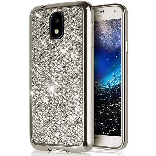Ukayfe Shiny Bling Glitzer Überzug Schutzhülle Case Ultra-dünne weiche TPU Silikon Slim Bumper Handy Softshell Sparkly Stoßdämpfend Schutzhülle Kompatibel mit Samsung Galaxy J3 2017-Silber -