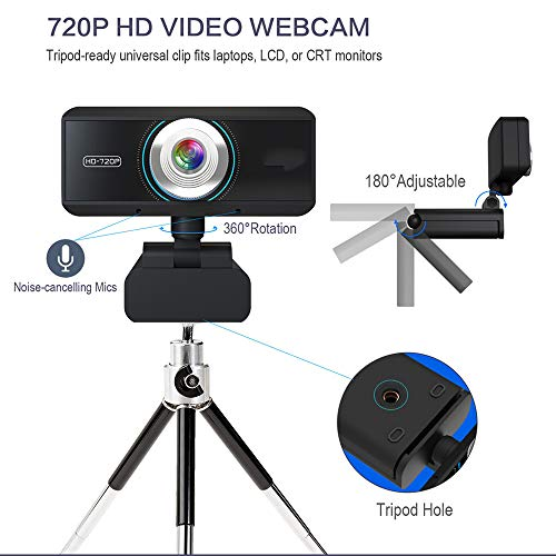 HD Pro Webcam, Full HD 720p Video Calling and Recording, Dual Stereo Audio, Stream Gaming, Two Mikrofone, Small, Agile, Adjustable Agile Stereo