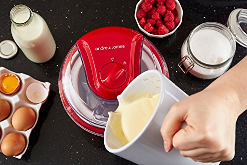 """Andrew James Ice Cream Maker – Voted """"Best Buy"""" By Which? Magazine. 1.5 Litre – Red"""