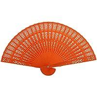 Legno Cavo Ventilatore Intagliato A Mano D'epoca Ventilatore Pieghevole - Arancione