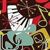 Vintage Rétro Années 50 Style Notes De Musique Touches Du Piano Multi - 40.6cm (40cm) Housse Coussin