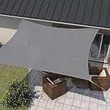 wip Sonnensegel grau 3,6x3,6m Quadrat HDPE 185g/m² Sonnenschutz Beschattung für Terrasse