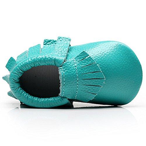 Shenn Babys Mädchen Niedlich Quasten Teilt Leder Sicherheit Zertifiziert Krabbel- & Hausschuhe Blau