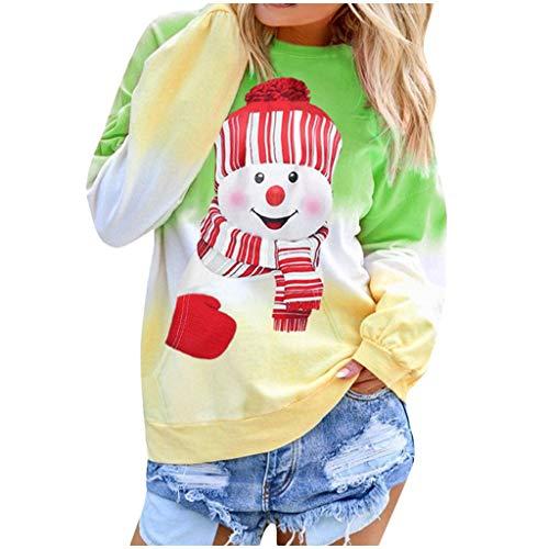 yazidan Damen Weihnachten Pullover Schneemann Langarm Rundhals Weihnachtspullover Strickpullover Christmas Sweater Oberteile Jumper Tops Sweatshirt