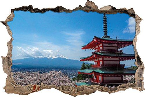 Pixxprint 3D_WD_2396_92x62 Japanisches Gebäude Wanddurchbruch 3D Wandtattoo, Vinyl, Bunt, 92 x 62 x 0,02 cm