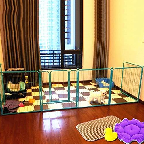 FXQIN Faltbarer Haustierlaufstall, bewerben Sie Sich für Indoor/Outside Dog Übungsstift Katzenzaun mit Tür 6-Platten, Kleintiere Laufstall Käfig Zwinger,Blue -