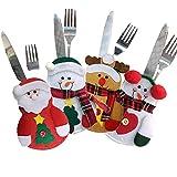 Pingenaneer 4 Stücke Weihnachten Besteckhalterset Besteckhalter Taschen für Messer & Gabel Weihnachten Party Dekoration Weihnachtsmann Schneemann Elch