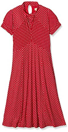 Lindy Bop Women's Amie Polka Short Sleeve Dress, Red, 22