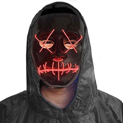 (EL Draht leuchten Halloween Masken, 3V LED Neon blinkende Licht Grinsen Scary Erwachsene Maske für Halloween Festival Party Kostüm Cosplay)