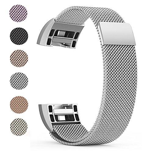 """Fitbit Charge 2 Ersatz Armbänd, BeneStellar Ersatz Milanese Band für Fitbit Charge 2 (Silber, Small (5.7""""-7.8""""))"""