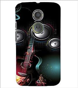 PrintDhaba Guitar D-4106 Back Case Cover for MOTOROLA MOTO X2 (Multi-Coloured)