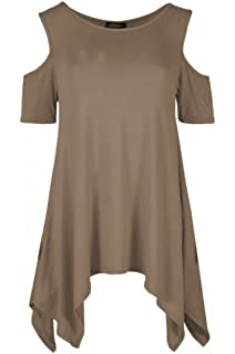 Ladies Choker V Neck Cold Cut Shoulder Short Sleeve Hanky Hem Flared Dress Top
