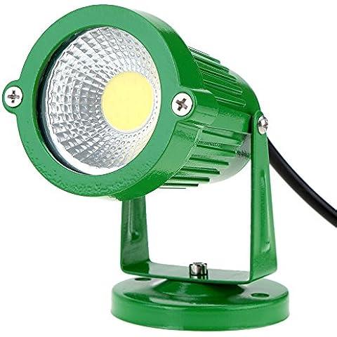 Lixada Lampade senso,riflettore, Paletti solari in alluminio - A tecnologia LED - per giardino/ sentiero/ stagno/ prato/ paesaggio - colore verde e nero con pannello solare,luce RGB caldo / naturale bianca, Ad Alta Potenza, 6W, 85-265V AC, IP65, CE RoHs, 1 pezzi