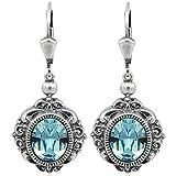 Ohrringe mit Kristallen von Swarovski Blau Silber Ohrhänger NOBEL SCHMUCK