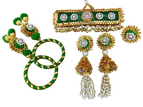 BLENT#63 Beautiful Green Gota Patti Flower Jewellery Set for Women/Kids/Girls/Bride/Bridal/Wedding/Haldi/Mehandi (Handmade Light...