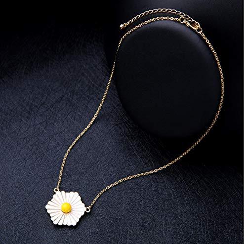 XZZZBXL Damenhalskette Emaille Daisy Flower Anhänger Mit Halskette Modische Frauen Einfache Maxi Halskette Modeschmuck Maxi Daisy