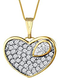 Spargz New Elegant Classic Style Gold Plated Heart Shaped Pendant With Snake Chain For Women AIP 163