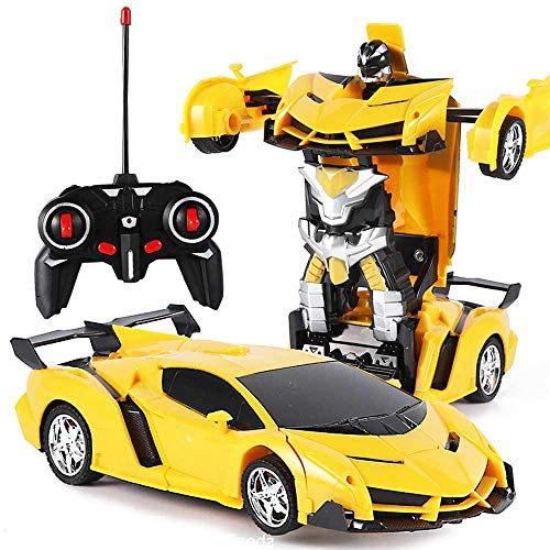 KOBWA Transformación de Coche de Juguete para Niños 1:18 Modelo RC Coche, Transformar Robot de un Botón Un Botón Se Transforma en Robot Control Remoto Electrónico RC Vehículos Niños Regalo Juguetes