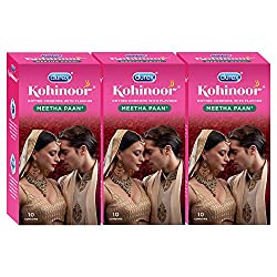 Durex Kohinoor Condoms - 10 Count (Pack of 3, Meetha Pan)