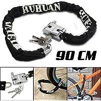 WSS–Noir Heavy Duty 90cm pour moto vélo de montagne Chaîne de vélo Cadenas Lock Safe sécurisé Sécurité