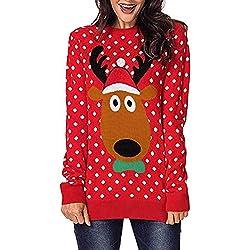 Lenfesh Christmas Pullover Tops Patrón de Renos Camiseta Navidad de Manga Larga Estampado de Lunares Camisetas Largo de Mujeres Chica