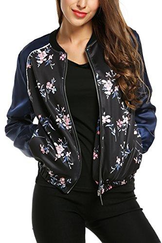 Zeagoo Damen Blumen Bomberjacke Gepolstert mit Reißverschhluss Kurz Jacke mit Stehkragen Blau XL