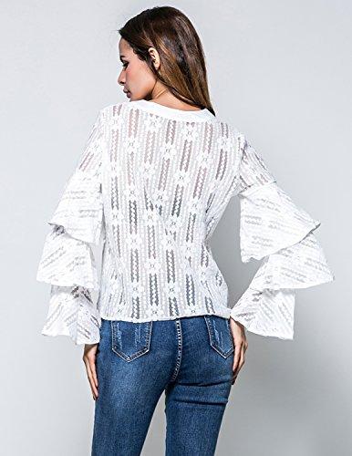 M-Queen Damen Langarm Shirt Bluse Oberteil Transparent Tüll Mesh Blusenbody Zerzaust T-shirt Rundhals Tunika Tops Weiß
