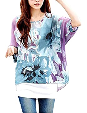 Blusas y Camisas Mujer Estampadas Flores Camiseta Bohemia Tops con Mangas Largas de Murciélago Caftan Playa Gasa...