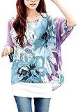 Landove Blumen Chiffon Bluse Fledermaus Shirt Damen 3 4 arm Bohemian Boho Hippie Damebluse Tunika T Shirt Sommer Oberteil Große Größen