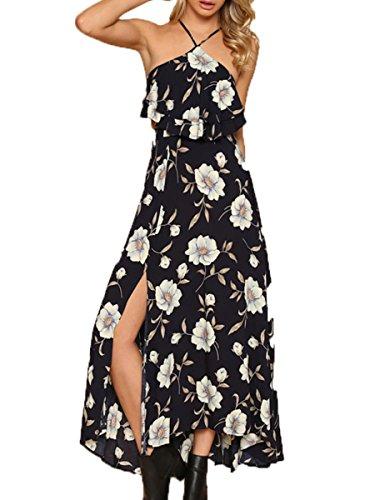 Simplee Apparel Damen Rüschen Kleid Schwarz