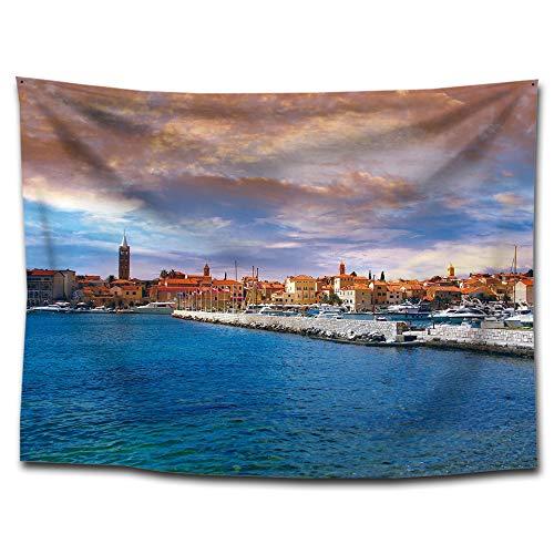 Jla tappezzeria, porto di pesca della città coperta di stampa, telone spiaggia telo, cordino di famiglia, poliestere, 3 stile 150 * 200cm, 150 * 130cm, 100 * 75cm,a,150 * 200cm