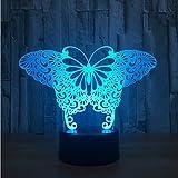 Lámpara de ilusión visual de mariposa en 3D Acrílico transparente Luz de noche Lámpara de color que cambia la mesa táctil Lámpara de bombeo Lámpara 3D Deco