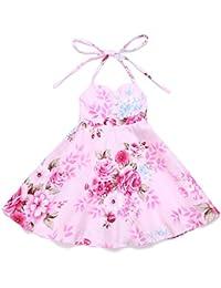 Flofallzique Floral Vintage Pink Girls Dress Summer Party Toddler Dress (2, Pink)