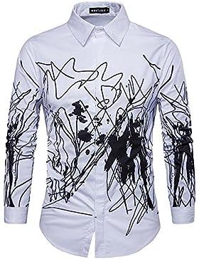 Camisa de los hombres con la camisa de un blanco y negro de impresión Jian Jie de manga larga delgado