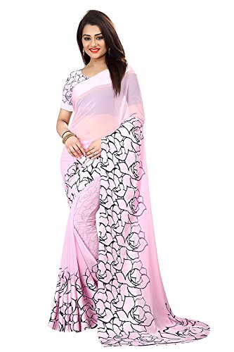 pujia mills Georgette-Satin Saree With Blouse Piece (pc-3_Pink_Free Size)