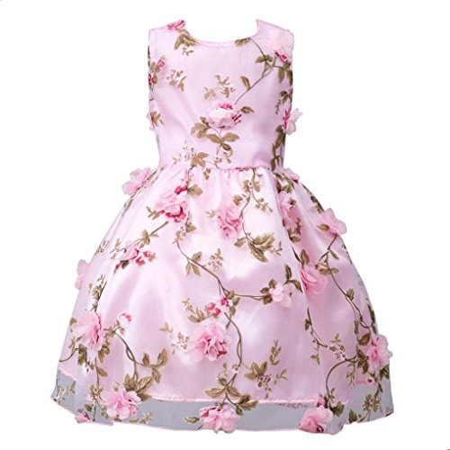 Longra Mädchen Kinder Kleider Festlich Kleid Lang Brautjungfern Kleid Prinzessin Hochzeit Party Kleid kindermode kinderkleidung (Pink, 140CM ()