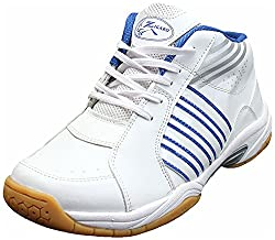 Zigaro Mens White Blue Synthetic Badminton Shoes - 9 UK