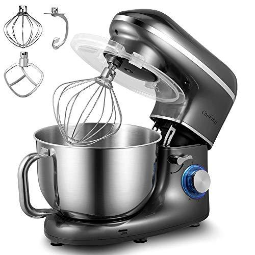 Robot Pâtissier, Cookmii 1500W Robot Pétrin Silencieux Robot de Cuisine Multifonctionn Pétrisseur Professionnel avec Batteur Électrique, Batteur, Fouet, Bol 5.5 L