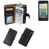 K-S-Trade® Für Archos 45b Neon Schutz Hülle Portemonnaie Case Phone Cover Slim Klapphülle Handytasche Schutzhülle Handyhülle Schwarz Aus Kunstleder (1 STK)