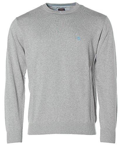 Kitaro Herren V-Ausschnitt Strick Pullover pima cotton Vapour grey melange