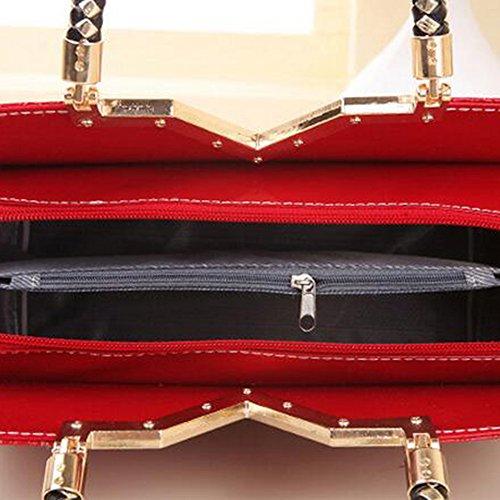 Shu Hua PU-manico lederner donne Top sacchetto per portafoglio sacchetto per Borse da Spalla tote wine red