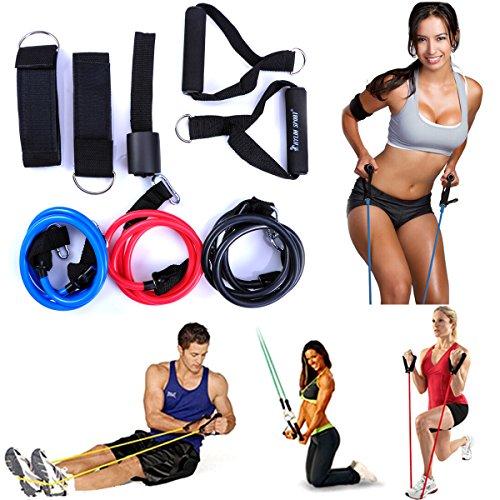 lycheer 12pcs Forza Formazione Suit migliore qualità resistenza esercizio tubo bande di resistenza allenamento fitness elastico