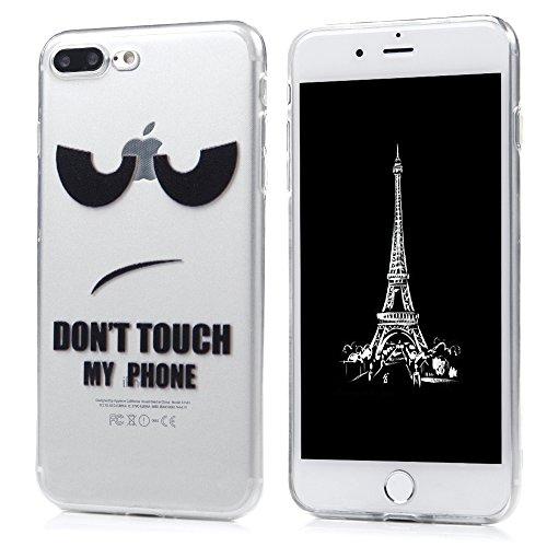 iPhone 7 Plus Custodia Morbido Silicone TPU Gel Ultra Slim Trasparente 5.5 - MAXFE.CO Case Cover [Shock-Absorption Bumper][Ultra Sottile Liscio] - viso carino