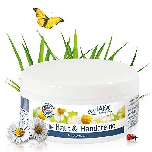 HAKA Kamille Handcreme I 250 ml Tiegel Hautcreme I Hautpflege für raue, beanspruchte, strapazierte Hände I Feuchtigkeitsspendende Pflegecreme für Frauen und Männer mit Kamilleduft