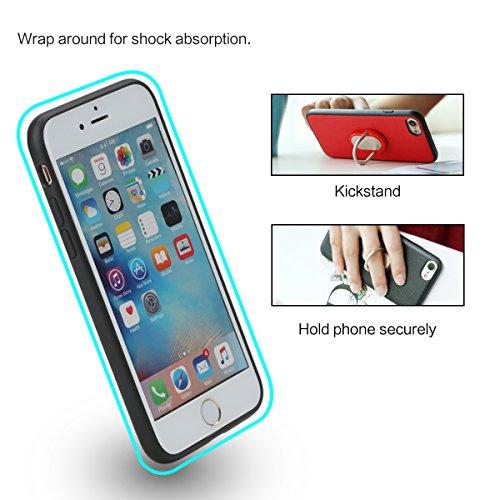 iPhone 7 Plus Hülle mit Finger Ring Halterung,ROCK M1 PU Veganes Leder Fall[360 Grad Ring Stand][Kickstand][Metallplättchen][Auto Magnet halterung]für Apple iPhone 7 Plus(5,5 inch) - Blau Rot