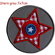 2 Parche de bordado o planchado Estrella Gris 7X7Cm Explosión 8X8Cm termoadhesivos bordados aplique para ropa con diseño de TrickyBoo Zurich Suiza por España
